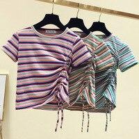 Short Sleeve T shirt Women's 2019 Summer New Style Hyuna Slim Fit Rainbow Stripes Non mainstream Scheming Drawstring Short Tops