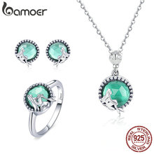 BAMOER Authentic 925 Sterling Silver Mermaid Missing Fairy Tale Earrings Ring Jewelry Set Sterling Silver Jewelry Gift ZH066