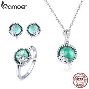 Image 1 - BAMOER authentique 925 argent Sterling Mermaid manquant conte de fées boucles doreilles anneau ensemble de bijoux en argent Sterling bijoux cadeau ZH066