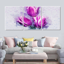 Laeacco 3 Panel Canvas Calligraphy Painting Abstract Wall Artwork Tulip Flower Pictures Posters Prints Home Living Room Decor
