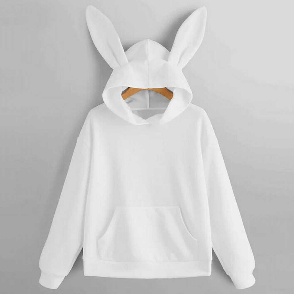 Women's Blouses Long Sleeve Rabbit Ear Hoodie Long Sleeve Blouse Sweatshirt Hooded Pullover Top Blouse Ladies Girls 801