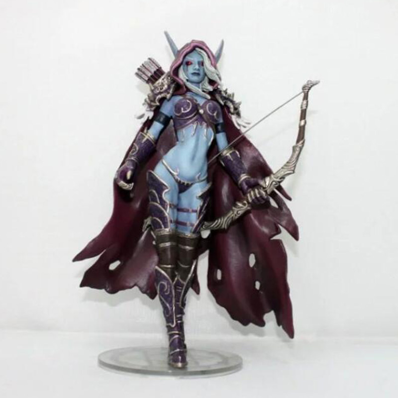 17CM WOW Anime Action Figure Sylvanas Windrunner Archery Queen PVC Static Model With Base For Kids Birthday Toys Gift Collection