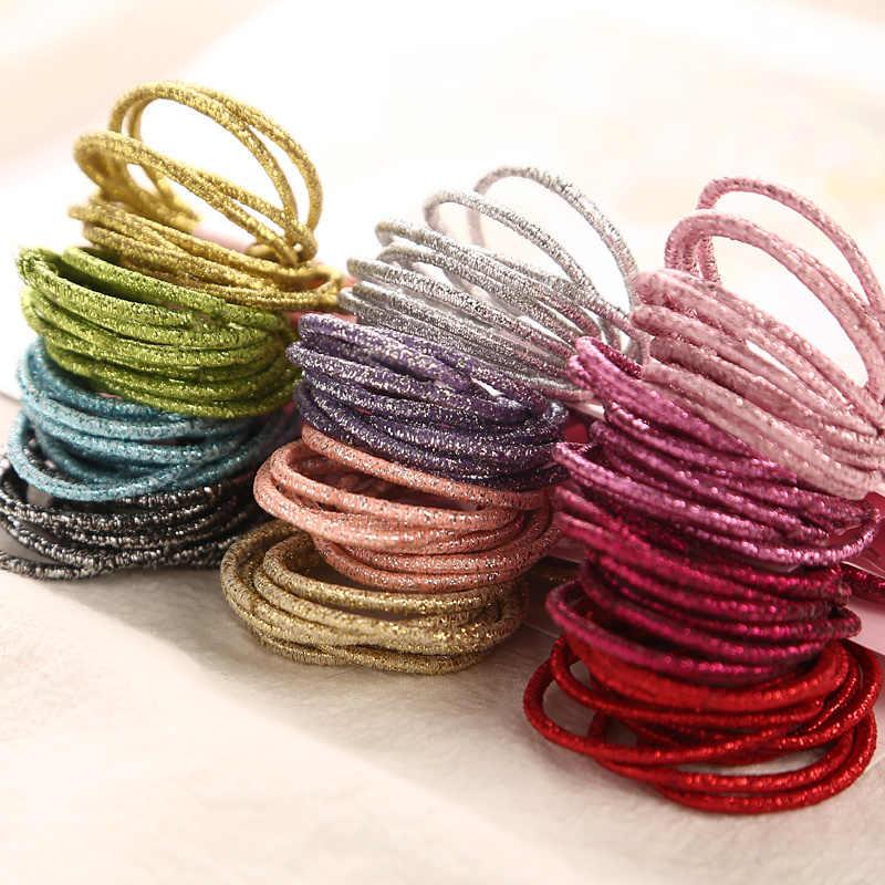 Mini faixas de cabelo elásticas 3cm, pacote com glitter em pó para cabelo, de borracha, para bebês meninas e crianças, com 10 peças/cartão acessórios de anel