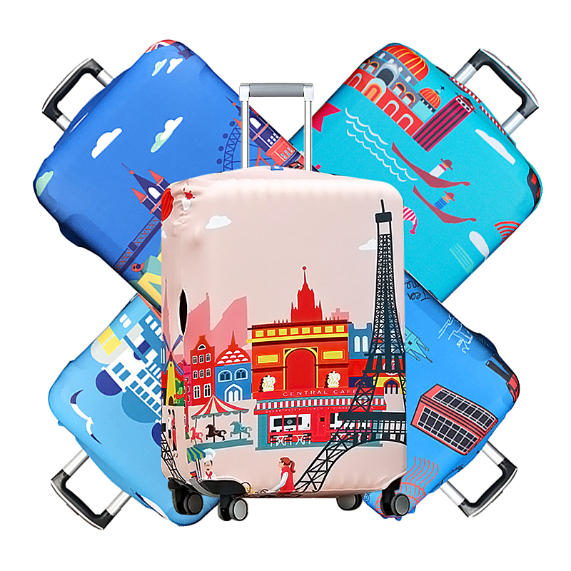 18-32 Inch Elastic Travel Luggage Cover City Building Pattern Trolley Suitcase Cover Anti-Wear Waterproof Protect Accessories