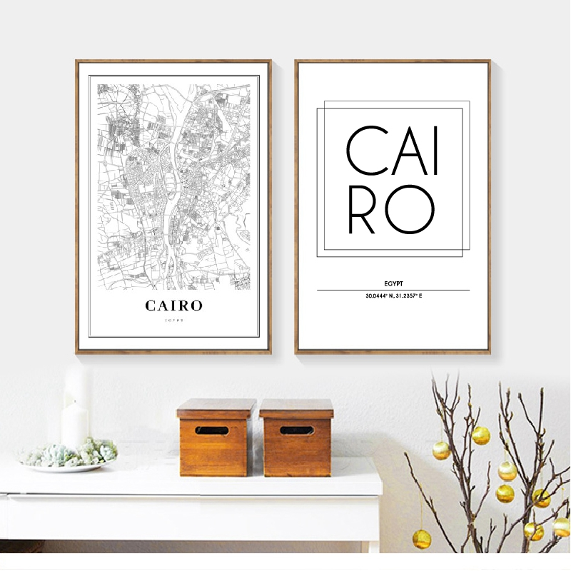 Cairo Egypt Map Wall Art Canvas Painting Modern Minimalist Posters and Prints Cairo City Street Road Map Wall Picture Home Decor