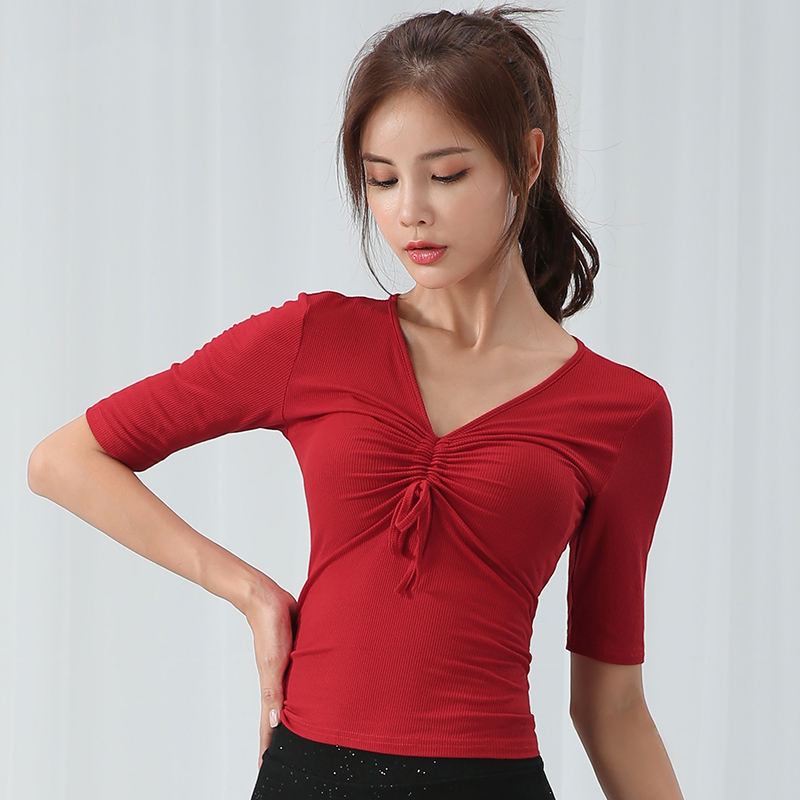 New Latin Dance Tops Women Modal Dance Wear Black/Red Dancing Clothes Practice Adult Rumba/Balroom Latin Dance Clothes BL2147