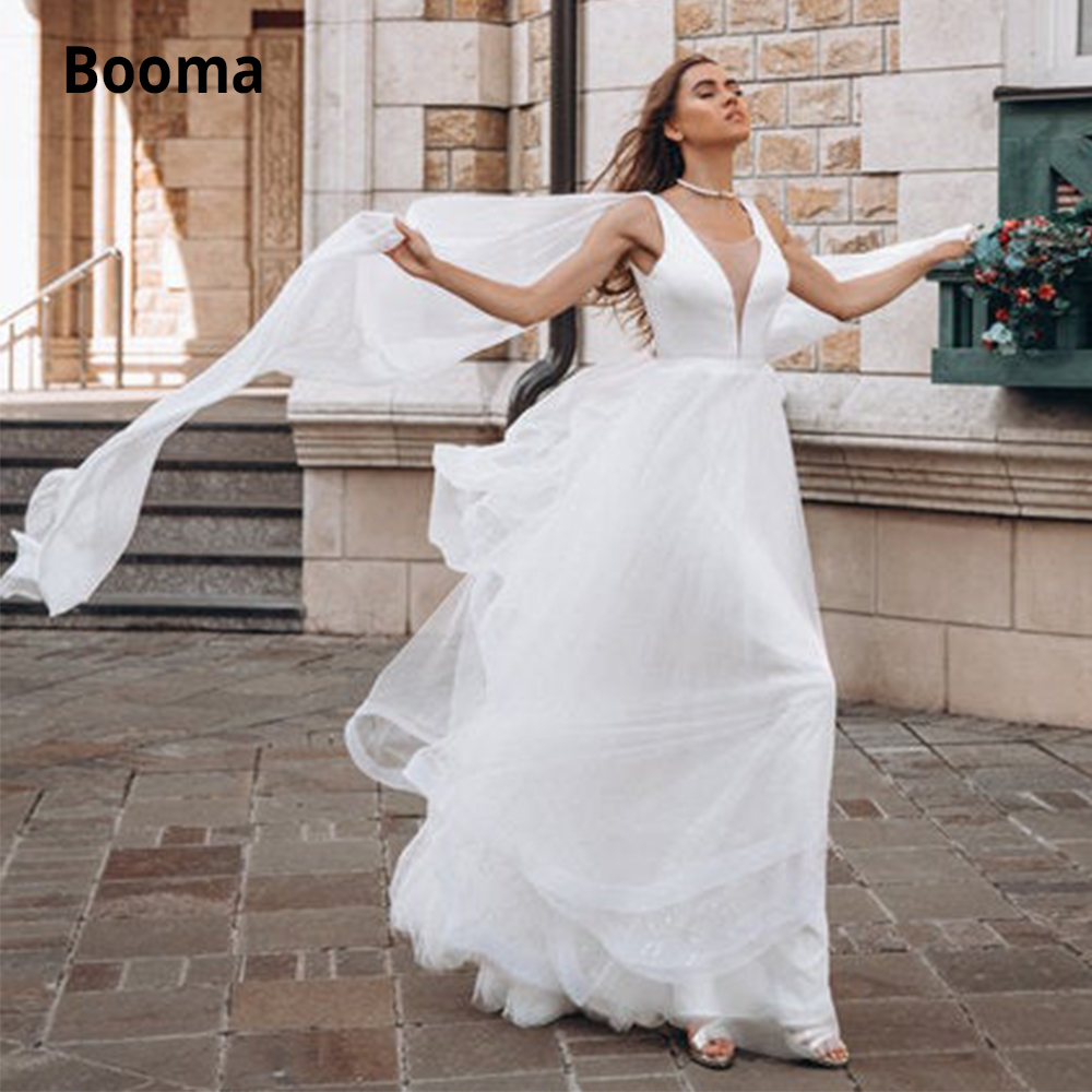 Booma Sexy Deep V-neck Satin Sequins Tulle Wedding Dresses Sleeveless Boho Bridal Gown Beach Princess Wedding Gown With Cape