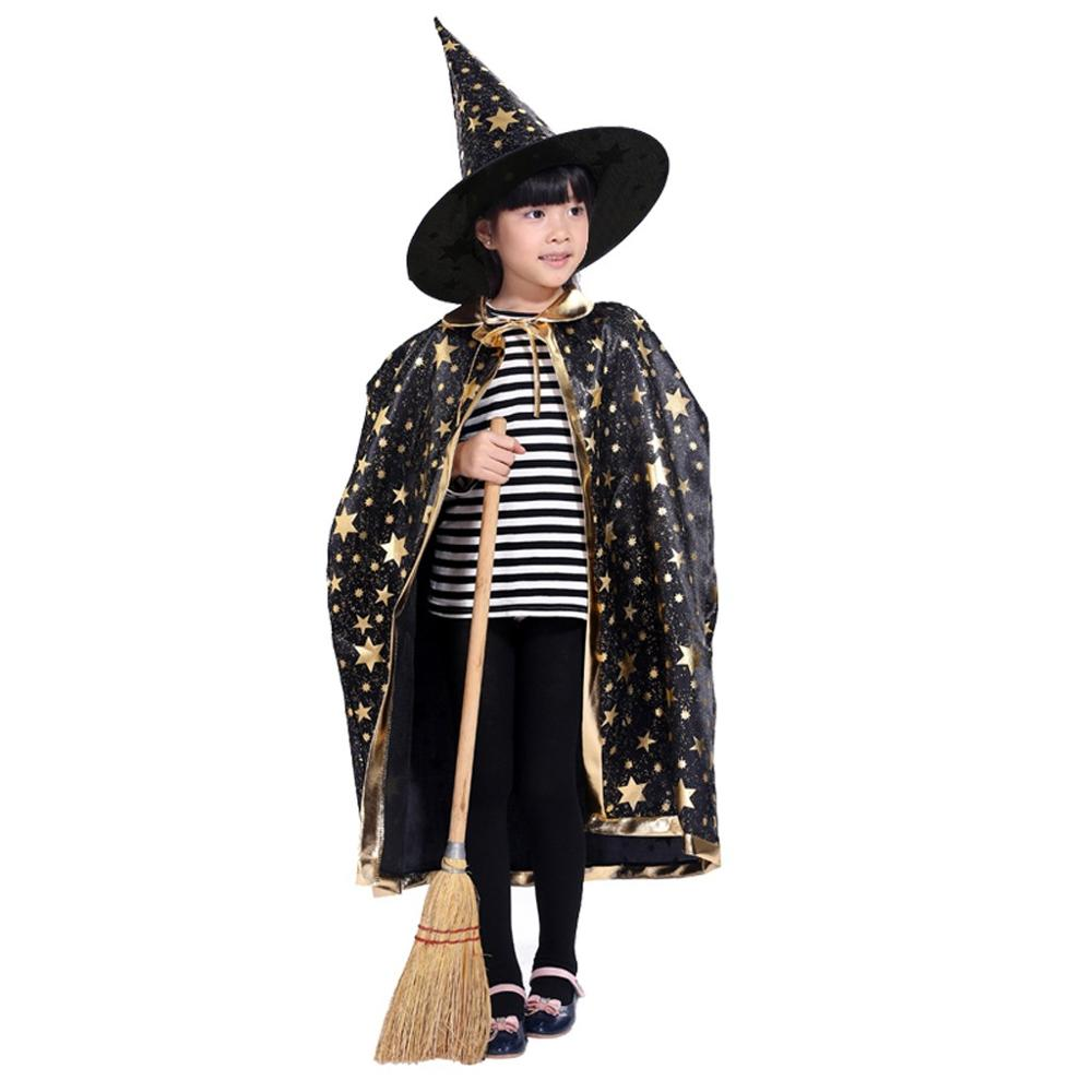 NEW Fashion Novelty Cloak Unisex Childrens' Halloween Costume Wizard Witch Cloak Cape Robe And Hat For Boy Girl Freeship плащ