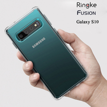 Fusion Ringke pour Galaxy S10 étui en Silicone souple en polyuréthane et coque arrière rigide transparente hybride