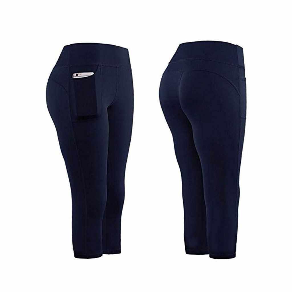 Леггинсы спортивные женские фитнес Высокая талия тянущиеся атлетические леггинсы для спортзала спортивные штаны для бега с карманами штаны для занятий спортом для сотового телефона