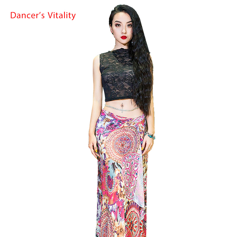 Belly Dance New Top Printing Yarn Hip Scarf Lady Beginners Training Outfits Oriental Dance Wear Competition Summer Skirt