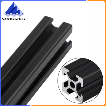 BLACK 2020 European Standard Anodized Aluminum Profile Extrusion 100mm-800mm Length Linear Rail 500mm for CNC 3D Printer linear guide rails 500mm x 500mm working area xy linear stage for 3d printer