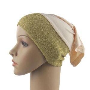 Muslim Women Girls Underscarf Cap Inner Hijab Hats Islamic Hejab Cotton Stitching Shimmer Material Soft Stretch Wholesale