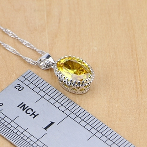 Image 3 - 925 Silver Jewelry Yellow Cubic Zirconia Jewelry Sets for Women Earrings/Pendant/Necklace/Rings/Bracelet