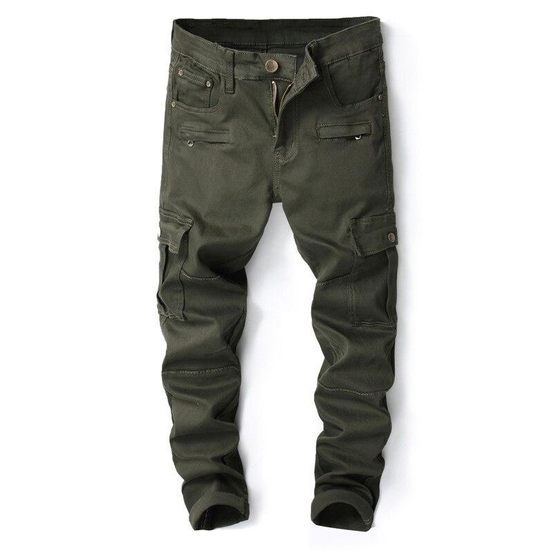 Autumn And Winter New Style Men's Military Style Slim Fit Pencil Pants Elasticity Jeans Fashion City Fashion Pants Men's 8009