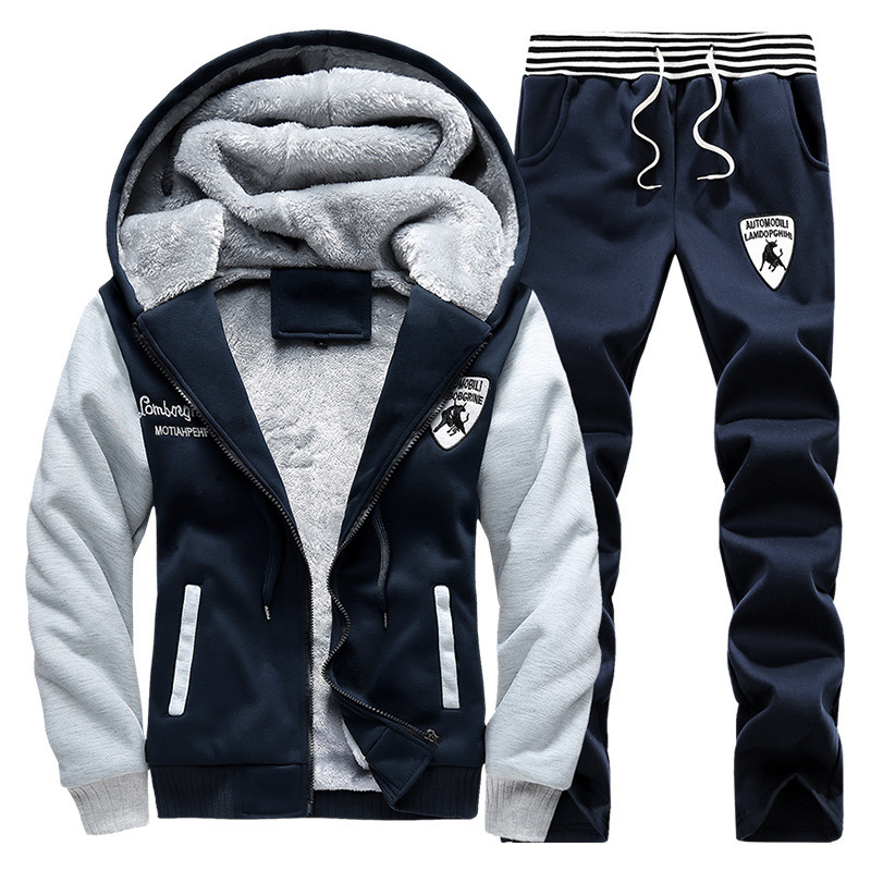Men's Autumn And Winter New Style Fashion Lovers Leisure Suit Plus Velvet Europe And America Loose And Plus-sized Hoodie Pants