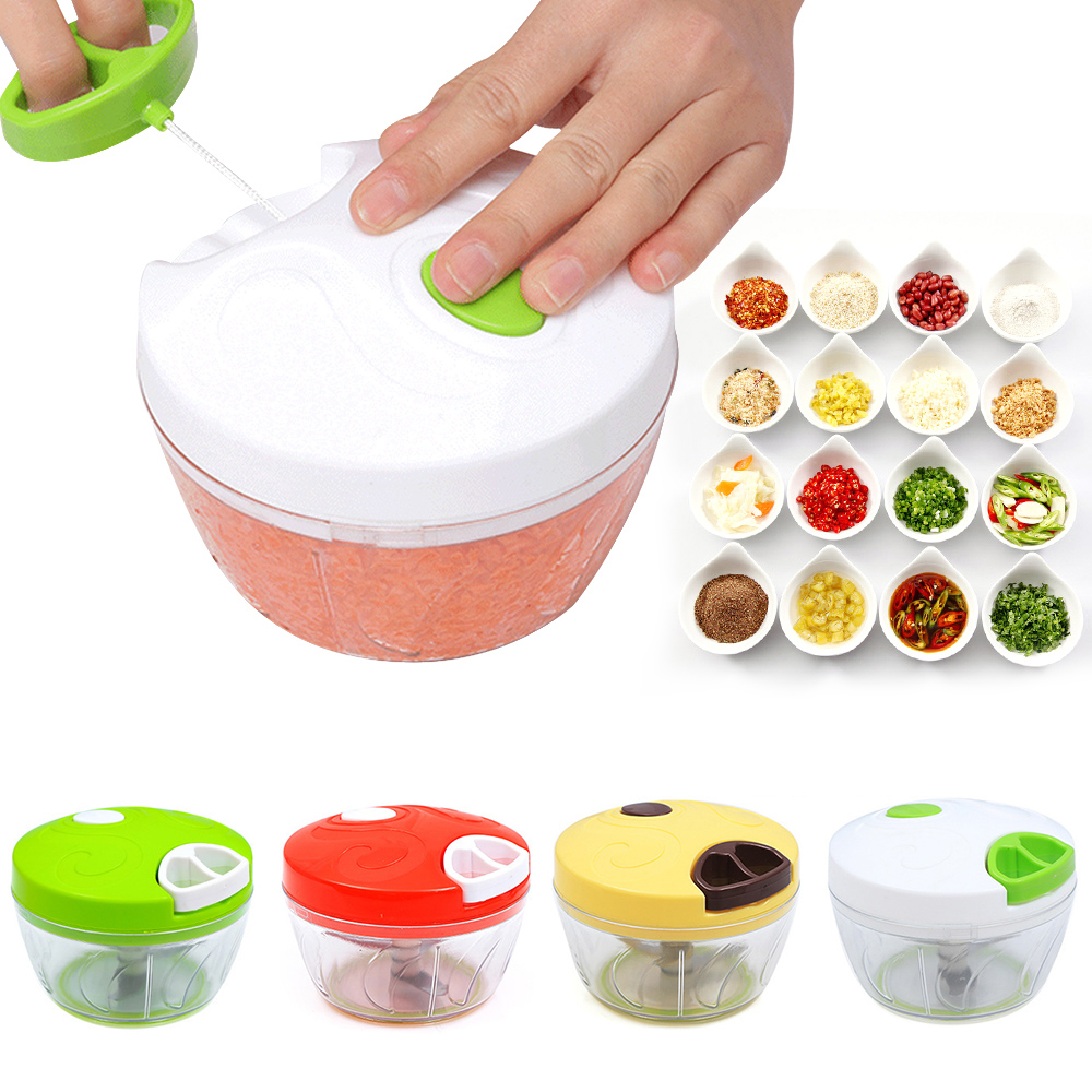 Hand Chopper Manual Rope Food Processor  Vegetables Food Cutter Salad Maker Multifunctional Grinder For Household Kitchen