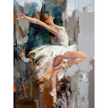 Gatyztoire 60 × 75cm bricolage cadre Ballet peinture par numéros toile Figure peinture à l'huile par numéros peint à la main bricolage cadeau décoration murale