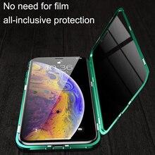 غلاف مغناطيسي لهاتف آيفون XR XS MAX X 8 Plus 7 + معدن من الزجاج المقسى غلاف مغناطيسي خلفي لهاتف آيفون 7 6 6S Plus