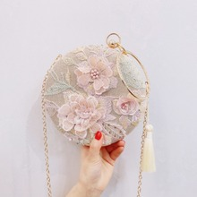 Ручная сумка, новинка, на одно плечо, диагональный крест, модная, ручная работа, круговая сумка, сумка с цветами Tassan