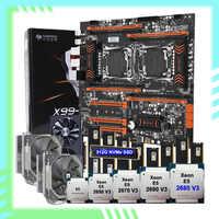 HUANANZHI X99-F8D placa base con 512G de M.2 SSD dual Xeon CPU 2680 V3 enfriador de CPU RAM 128G DDR4 2400 tarjeta de vídeo RX5700 8G GDDR6
