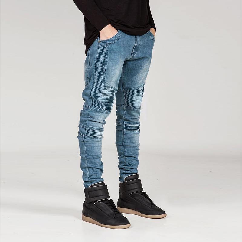 Luxury Brand Jeans Men Fashion Pockets Pleated Denim Trousers Autumn Casual Streetwear Mens Pencil Jeans Pants Denim Jeans