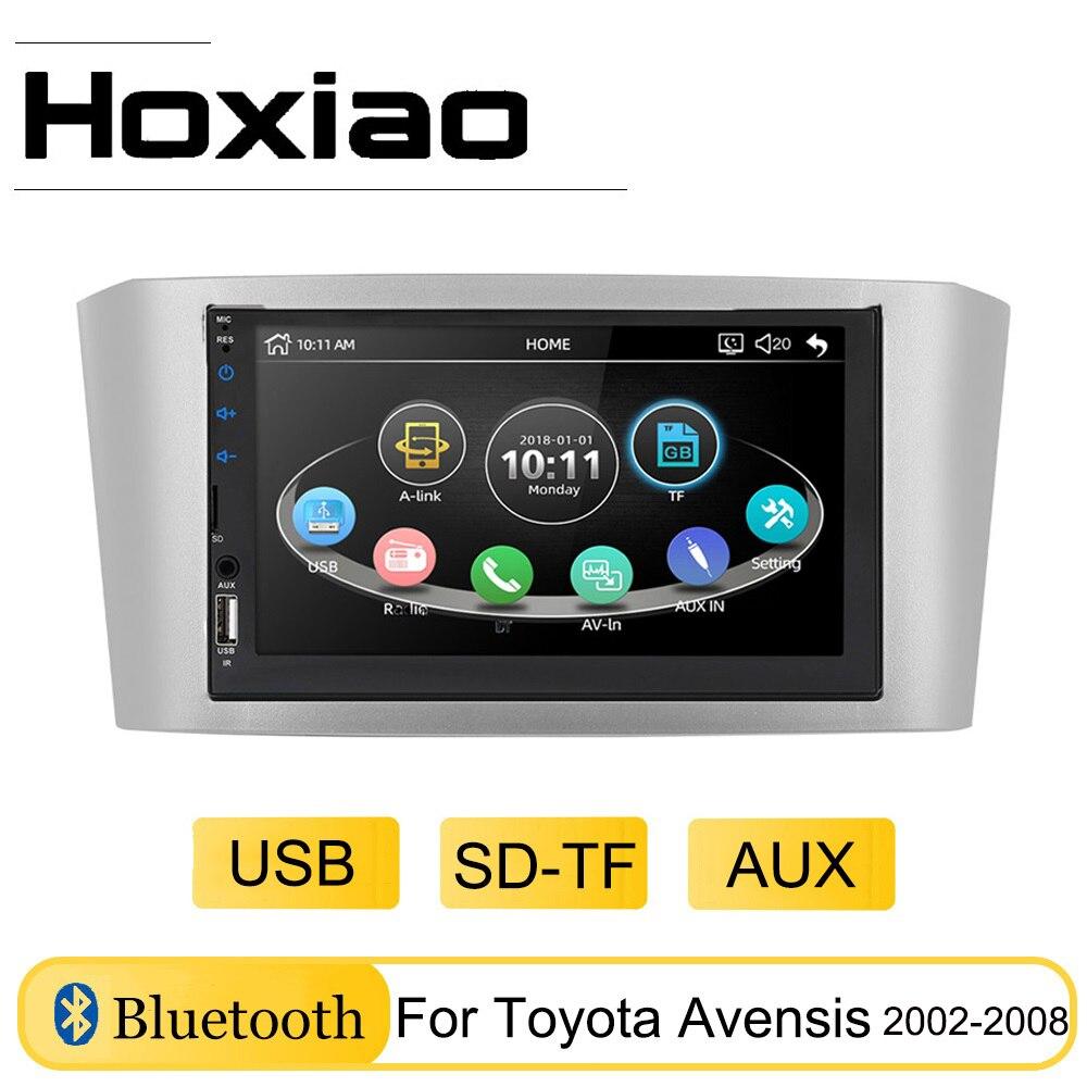 Rádio automotivo 7 , rádio player para toyota avensis 2002 2008 2003 2004 2005 2006 2007 usb aux sd tf reprodutor de mp5 para carro espelho bluetooth