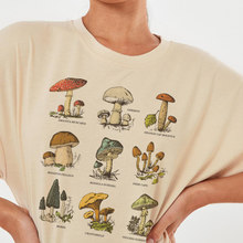 Vintage Fashion Mushroom Print Oversized T Shirt Egirl Grunge Aesthetic Streetwear Graphic Tees Women T-shirts Cute Tops Clothes