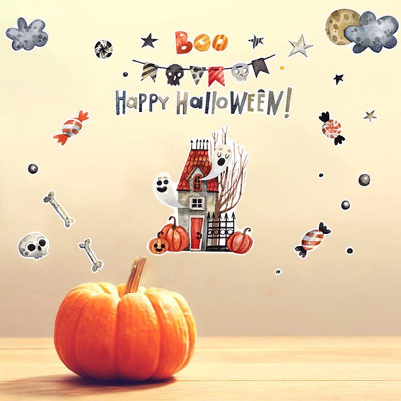 Детские комнаты мультфильм красочные милые настенные наклейки самоклеющиеся ПВХ наклейки для Хэллоуина вечерние украшения для дома для де... - 5