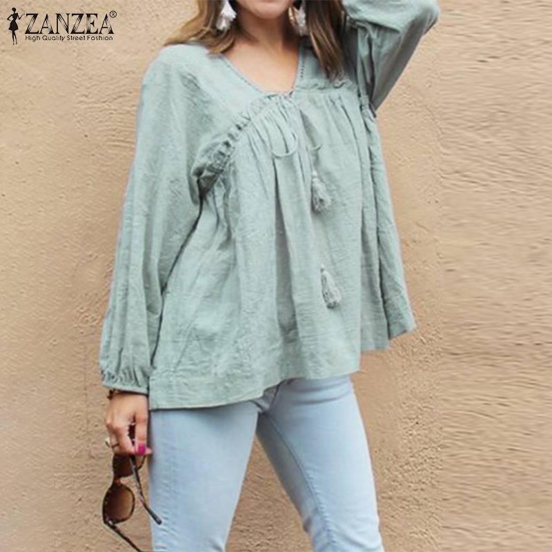 ZANZEA Vintage Women Long Sleeve Ruffles Blouse Autumn V Neck Solid Cotton Linen Shirt Female Robe Work Blusas Chemise Top Femme