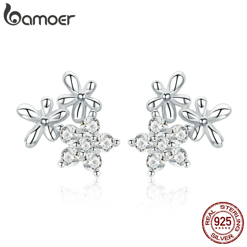 BAMOER Authentic 925 Sterling Silver Luminous Gypsophila Star Flower Stud Earrings For Women Sterling Silver Jewelry BSE030