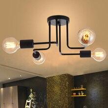 4 cabeças sala de estudo lustre haste múltipla ferro forjado loft nordic cúpula lâmpada para decoração casa jantar cafe bar