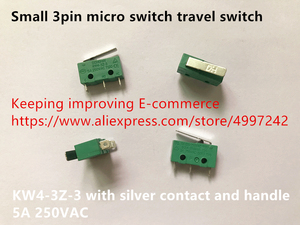 Image 1 - Original new 100% small 3pin micro switch travel switch KW4 3Z 3 with silver contact and handle 5A 250VAC