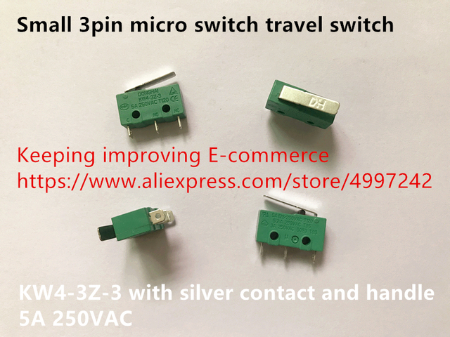 Original new 100% small 3pin micro switch travel switch KW4 3Z 3 with silver contact and handle 5A 250VAC