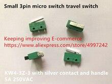 Original novo 100% pequeno interruptor micro interruptor viagem 3pin KW4 3Z 3 com contato de prata e alça 5A 250VAC