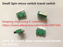 Oryginalny nowy 100% małe 3pin mikro przełącznik przełącznik podróży KW4 3Z 3 z srebrny kontakt i uchwyt 5A 250VAC