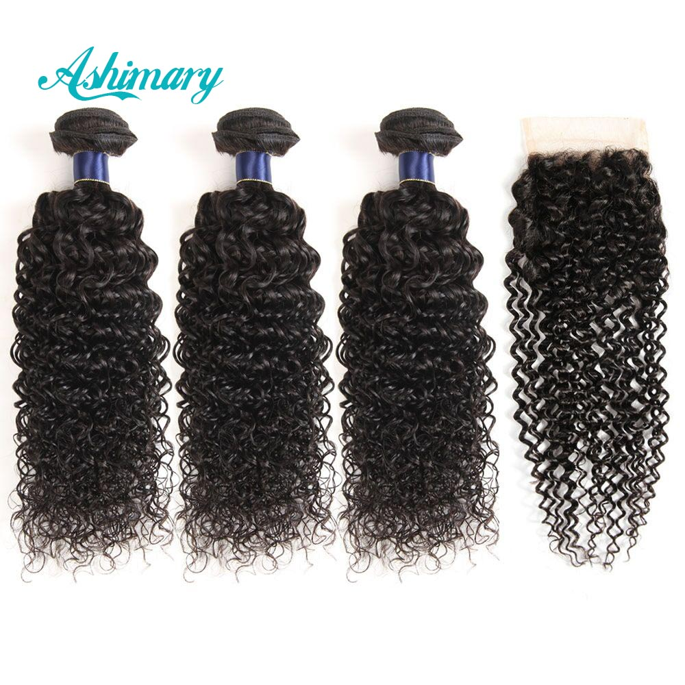 Ashimary Hair Water Wave Bundles With Closure Remy Hair Weave Peruvian Human Hair 3 Bundles With Closure