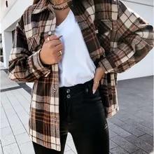 Jaqueta de impressão xadrez feminina casaco de manga longa único breasted streetwear oversize senhoras casaco casual outono outwear jaquetas femininas