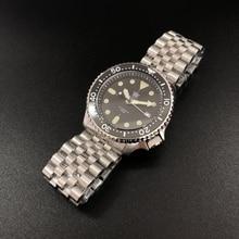 Luminoso relógio automático homem relógio mecânico nh35 safira 316l cristal mecânico cerâmica moldura aço inoxidável relógio de mergulho