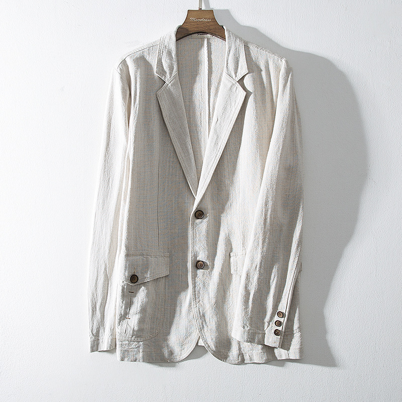 HOHO 2020 Men Fall Solid Color Linen Little Leisure Blazerspinstripe Loose Cotton And Linen Blazers