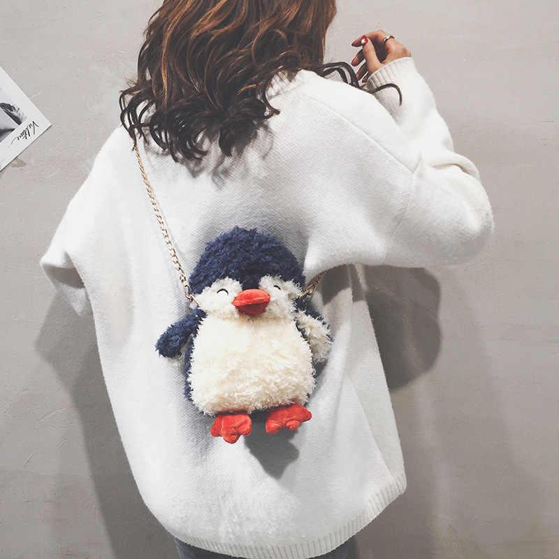 الكرتون أفخم البطريق سلاسل الكتف حقيبة كروسبودي المرأة متعة محفظة أنيقة ثلاثية الأبعاد الحيوان حقائب السيدات حقيبة ساعي صغيرة صغيرة رفرف