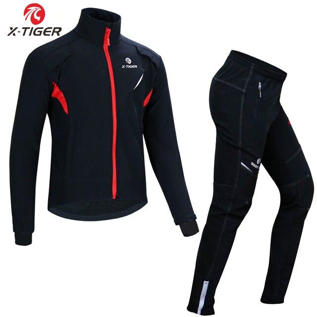 X TIGER 冬フリースサーマルサイクリングジャケットコート反射自転車服セットスポーツウェア防風 Mtb 自転車ジャージ服