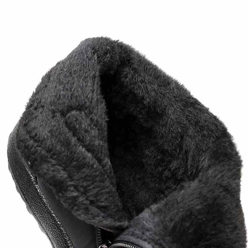 Winter frauen stiefel 2019 warme plüsch schnee stiefel frauen schuhe rohr dicke wasserdichte seite zipper schuhe frauen stiefeletten plus größe