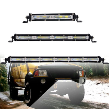 Offroad Super Slim LED Light Bar Single Row 7'' 13 20in SUV 4X4 ATV Off Road Tractor LED Combo Beam Driving Auxiliary Work Lamp image