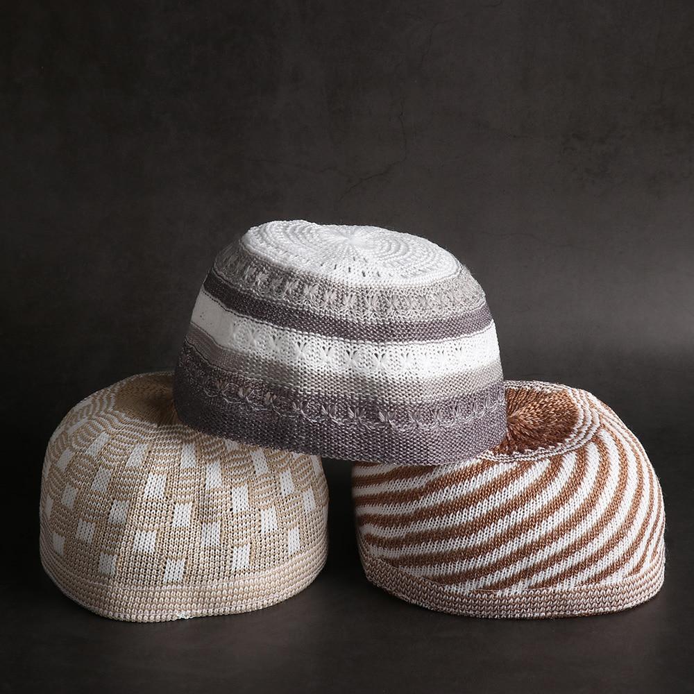 New Men Muslim Prayer Hats Cotton Knitting Hats Men's Skull Cap Muslim Islamic Prayer Hat Head Wear Solid Casual Male Cap