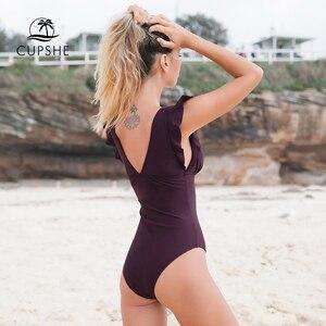 Image 5 - CUPSHE Elegant Blue Floral Print One Piece Swimsuit Women V neck Ruffle Monokini Beach Bathing Suits 2020 Girl Sexy Swimwear