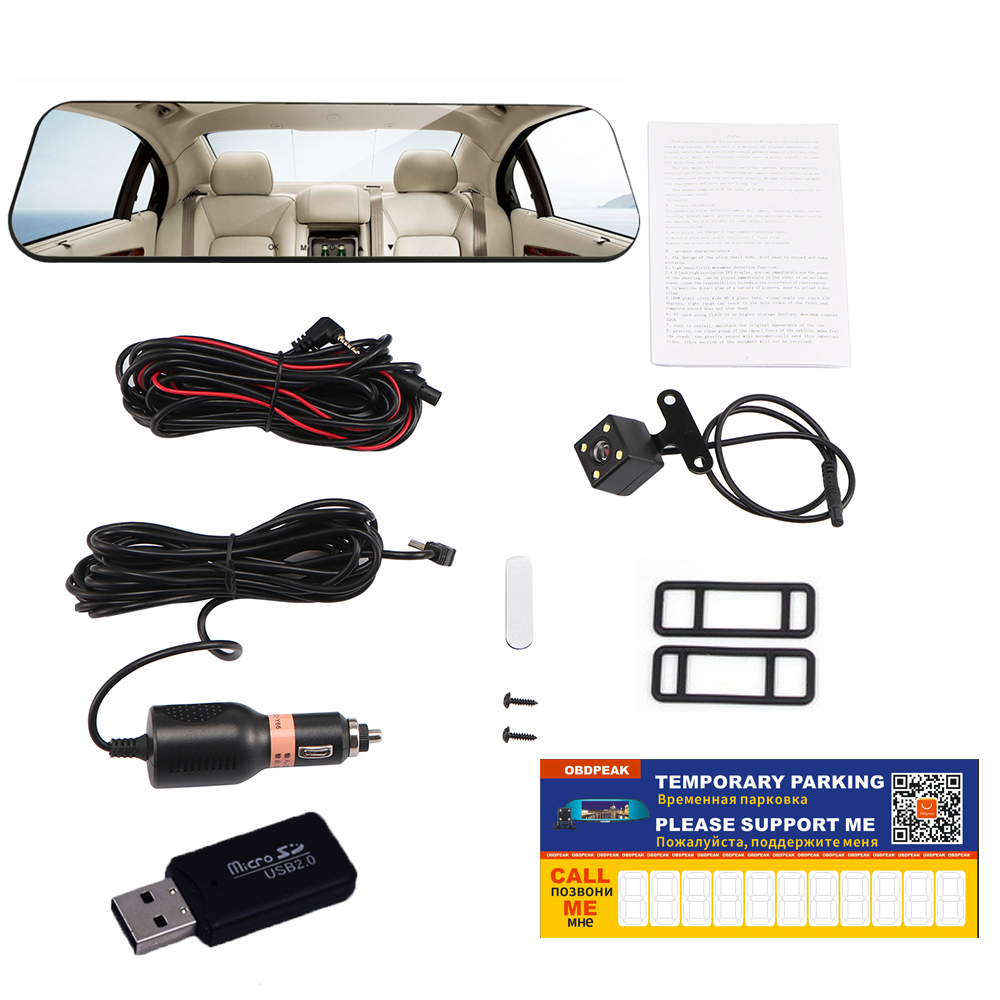 Car Dvr Dual Lens Car Camera White Rearview Mirror Recorder With Rear View Camera Video Registrator Auto Vehicle Dvr Dash Cam 6