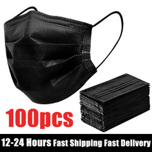 50-400Pcs Disposable Face Mask Nonwoven 3 Layers Filter Anti Dust Smog Breathable Gauze Mask Black Adult Face Mouth Masks