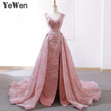 YeWen Princess Lace Flower Long Eveing Dresses 2020 Lebanon Party Christmas Lace Prom Formal Dress Women Elegant Gown Pink