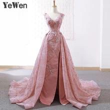 YeWen koronka księżniczki kwiat długie suknie wieczorowe 2020 liban Party świąteczna koronkowa wieczorowa suknia na studniówkę kobiety elegancka suknia różowa